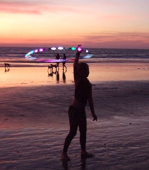 hula hoop on beach