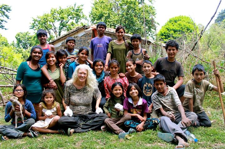 Kids and Prabha at organic farm